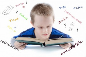 Boy with math book