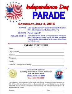 July 4th Parade Entry Form  2015