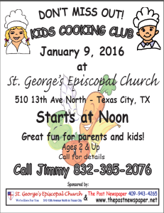 Kid's Cooking Club @ St.George Episcopal | Texas City | Texas | United States