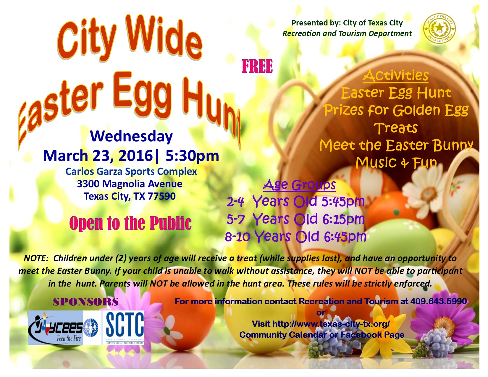 City wide easter egg hunt texas city community calendar for Easter egg fun facts