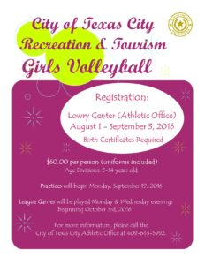 Texas City Girls Volleyball League Registration @ Lowry Center | Texas City | Texas | United States