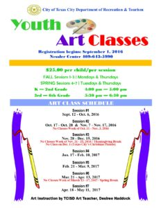 Youth Art Classes Flyer 2016- 2017