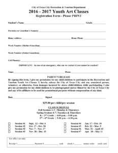 Youth Art Classes Flyer 2016- 2017 Registration Form
