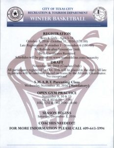 Texas City Winter Youth Basketball Registration @ Lowry Center