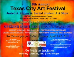 18th Annual Texas City Art Festival Opening Night @ Charles T. Doyle Convention Center | Texas City | Texas | United States