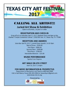 Calling all Artist - 18th Annual Art Festival @ Charles T. Doyle Convention Center | Texas City | Texas | United States