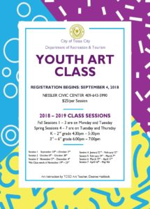 Youth Art Class- Fall & Spring Sessions @ Nessler Civic Center | Texas City | Texas | United States