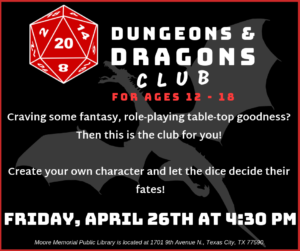 Dungeon's and Dragon's Club @ Moore Memorial Public Library